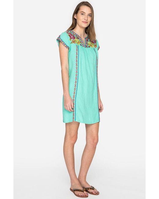 a0d7371c728 ... Johnny Was - Green Vella V-neck Mexican Tunic Dress - Lyst ...