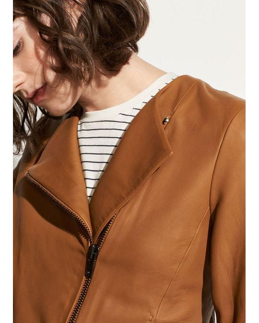Vince - Brown Cross-front Leather Jacket - Lyst