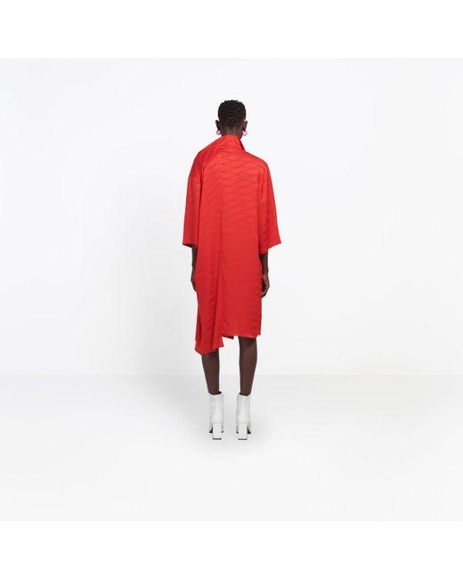 5100ce5c ... Balenciaga - Red Monogram Shifted Shirt Dress - Lyst