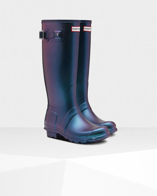 e81786668a9 ... Lyst Hunter - Blue Women s Original Nebula Tall Rain Boots ...