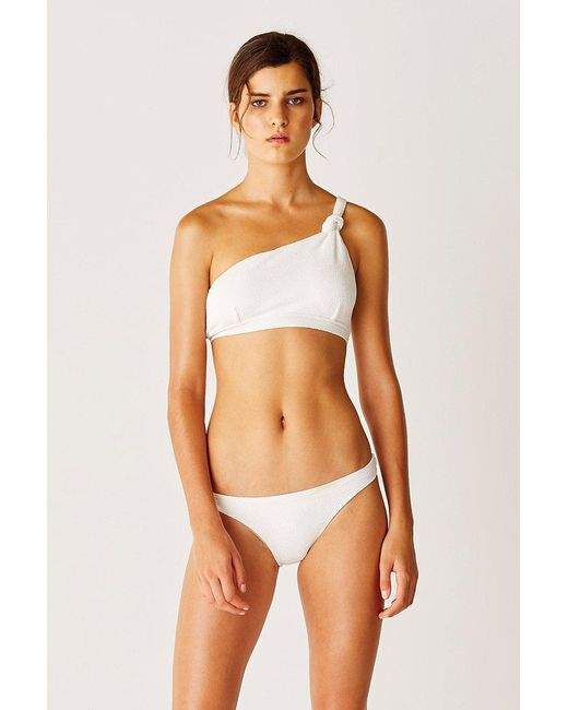 1e075997d38d7 Lyst - Suboo One Shoulder Knot Bikini Top - White in White