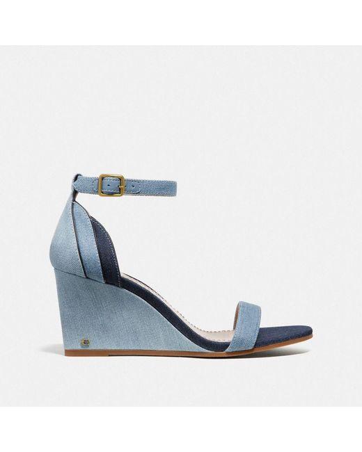 0863bc1e7a3b ... COACH - Blue Olive Sandal - Lyst ...