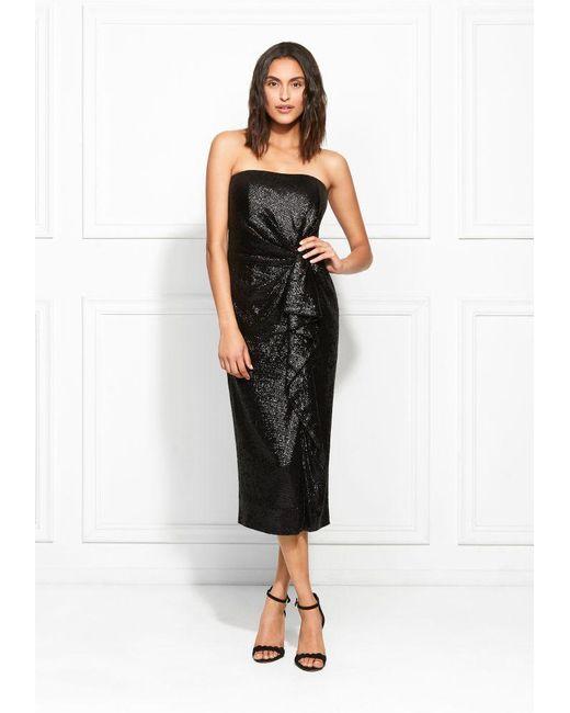 051c59ce2ab Rachel Zoe - Black Krista Strapless Fluid Sequin Midi Dress - Lyst ...