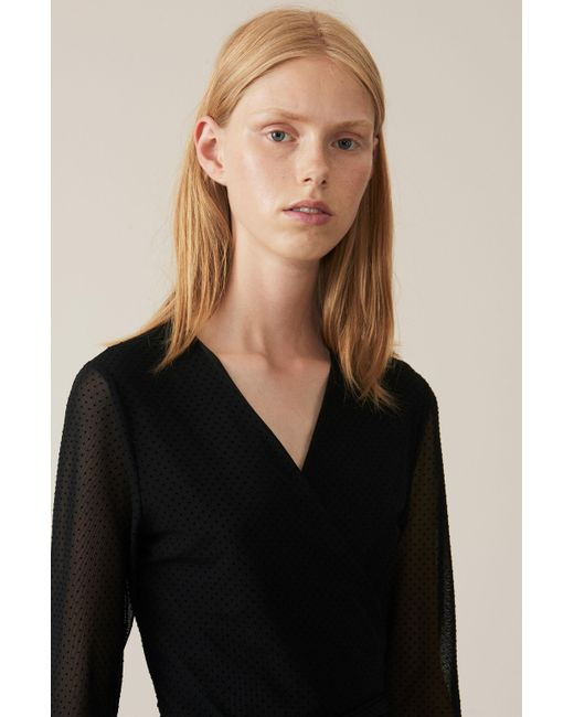 Ganni Velvet Dot Mesh Wrap Dress In Black Lyst