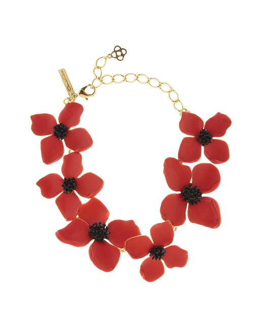 Oscar de la Renta - Multicolor Cayenne Painted Flower Necklace - Lyst