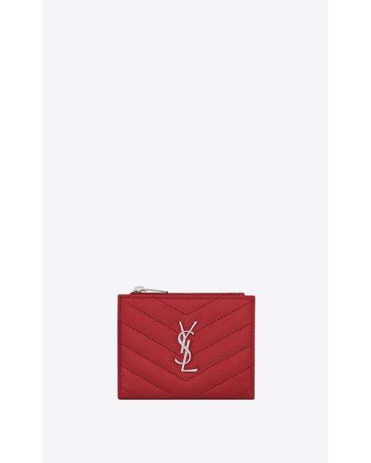 f4942e3f097 Saint Laurent - Red Monogram Card Case In Grain De Poudre Embossed Leather  - Lyst ...