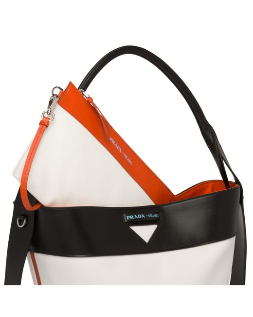 a91571667761 ... Prada - Multicolor Ouverture Canvas And Leather Bag - Lyst ...