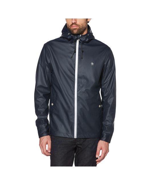 Original Penguin - Blue Rubberized Tech Jacket for Men - Lyst