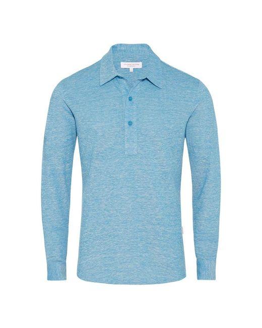 Orlebar Brown - Blue Sebastian Linen Pique Azure/ecru Tailored Polo for Men - Lyst