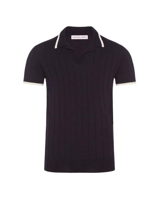 Orlebar Brown - Blue Rushton Merino-polo Mit Körperbetonter Passform In Navy for Men - Lyst