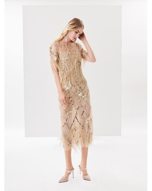 Oscar de la Renta - Metallic Sequin Fishnet Embroidered Tulle Two-piece Gown - Lyst