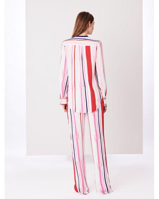 Oscar De La Renta Painted Stripes Cady Wide-leg Pants in Pink - Lyst