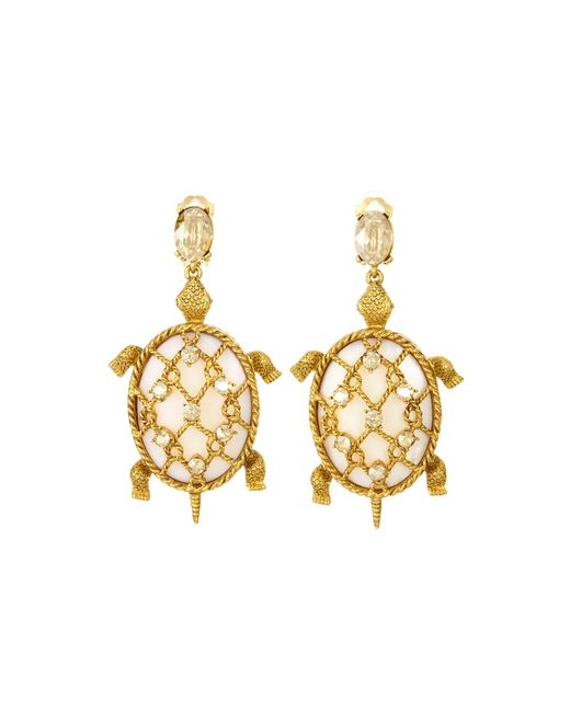 Oscar de la Renta - Metallic Shell Turtle Earrings - Lyst