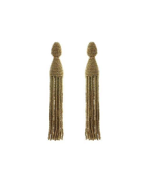 Oscar de la Renta - Metallic Beaded Tassel Clip Earrings - Lyst