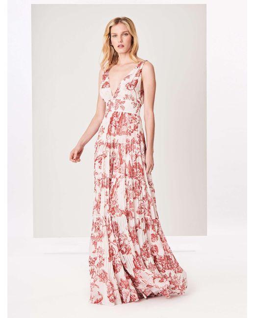 008b2068888 Lyst - Oscar de la Renta Floral Toile Silk-chiffon Dress in Pink
