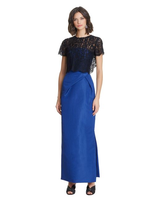 Oscar de la Renta | Blue Corded Floral Lace Caraco With Tie Back | Lyst
