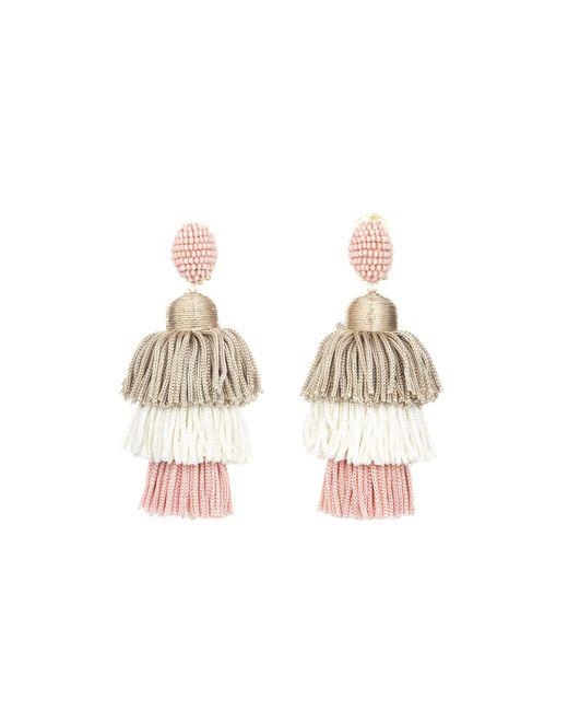 Oscar de la Renta   Multicolor Grapefruit Long Silk Tiered Tassel Earrings   Lyst