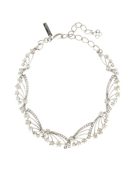 Oscar de la Renta - Metallic Crystal Fan Necklace - Lyst