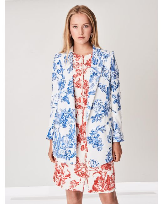 Oscar de la Renta - Blue Floral Toile Stretch-silk Georgette Double-breasted Blazer - Lyst