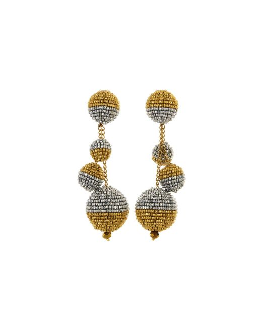 Oscar de la Renta - Metallic Black And White Beaded Ball Earrings - Lyst