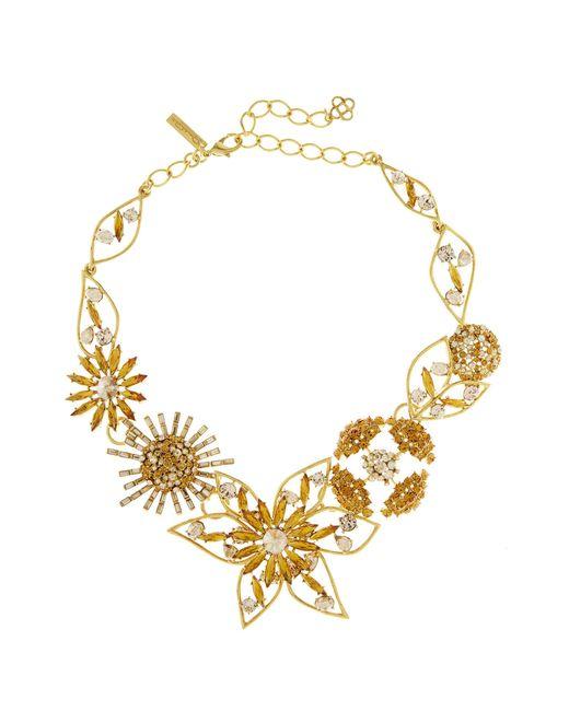 Oscar de la Renta - Metallic Jeweled Flower Necklace - Lyst
