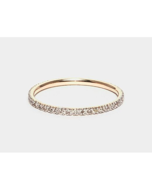 i+i | Metallic Gold Band Ring With White Diamonds | Lyst