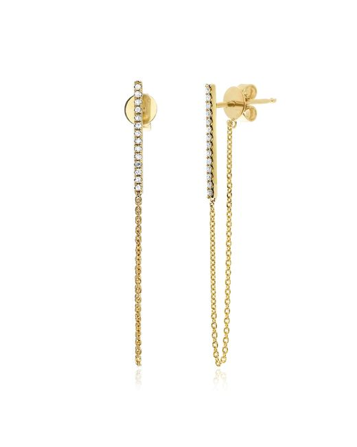 EF Collection | Yellow 14k Diamond Bar Chain Studs | Lyst