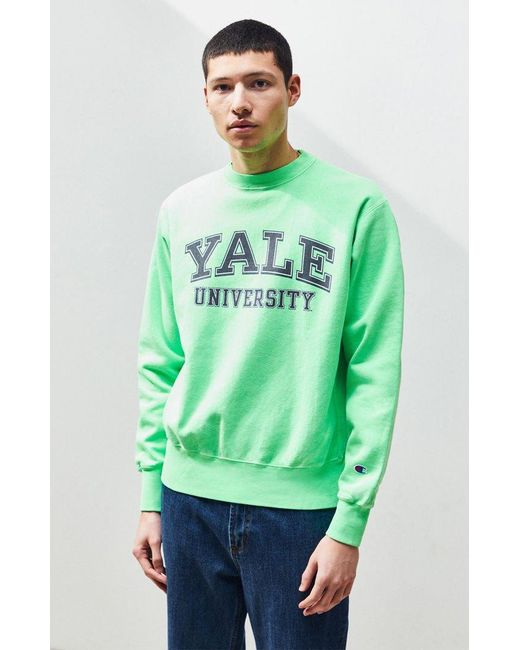 82392a4fea50 Champion - Green Neon Yale Crew Neck Sweatshirt for Men - Lyst ...