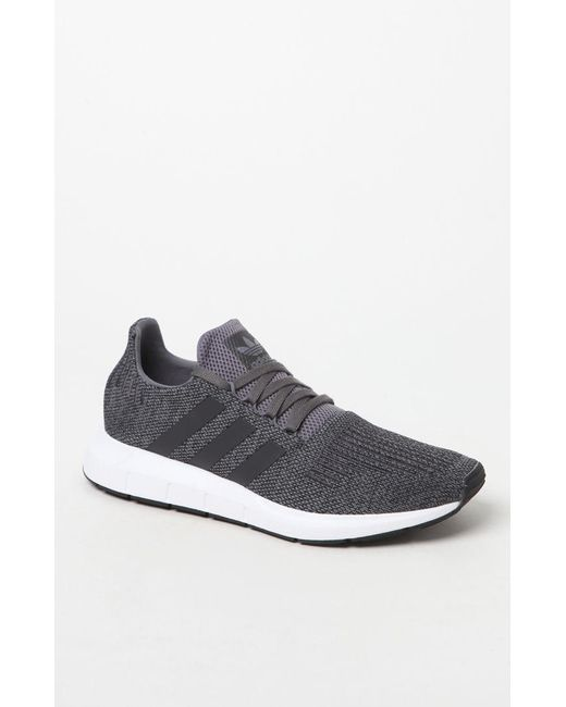 Adidas - Gray Swift Run Grey   Black Shoes for Men - Lyst ... 7b021078b