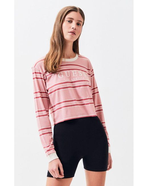 0539ef8ec58c3 Guess - Pink Long Sleeve Wilson Cropped T-shirt - Lyst ...
