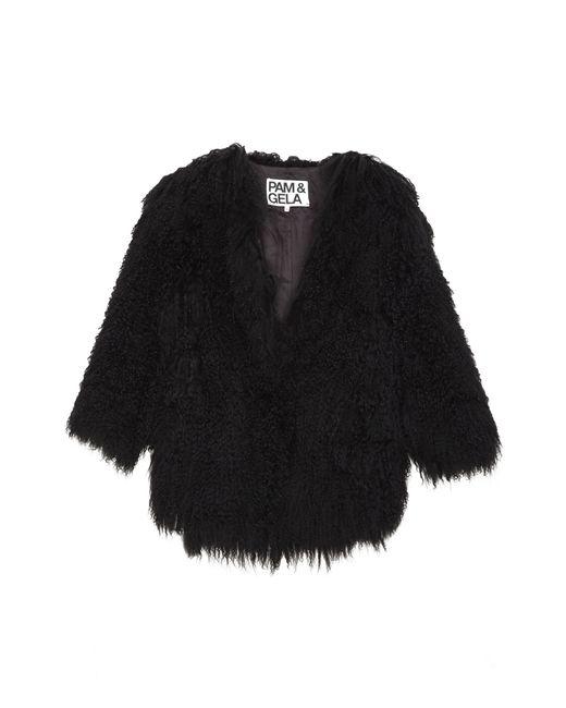 Pam & Gela | Black 3/4 Sleeve Cropped Mongolian Fur Coat | Lyst