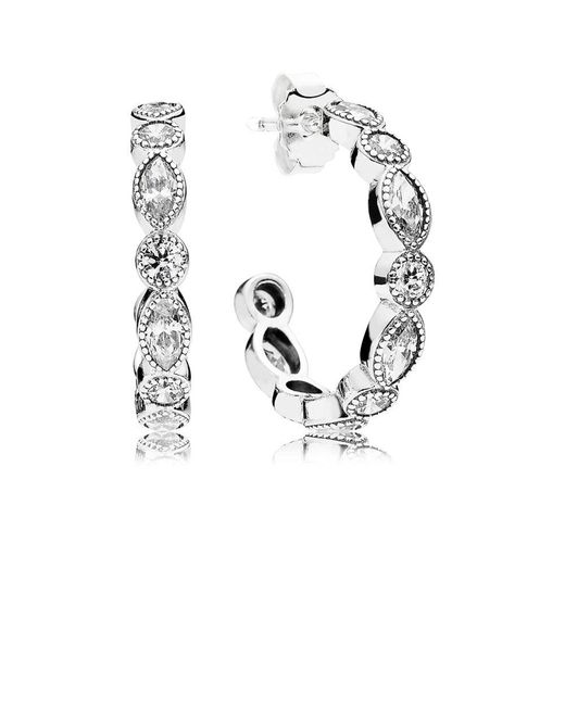 Pandora   Multicolor Alluring Briliant Marquise Hoop Earrings   Lyst