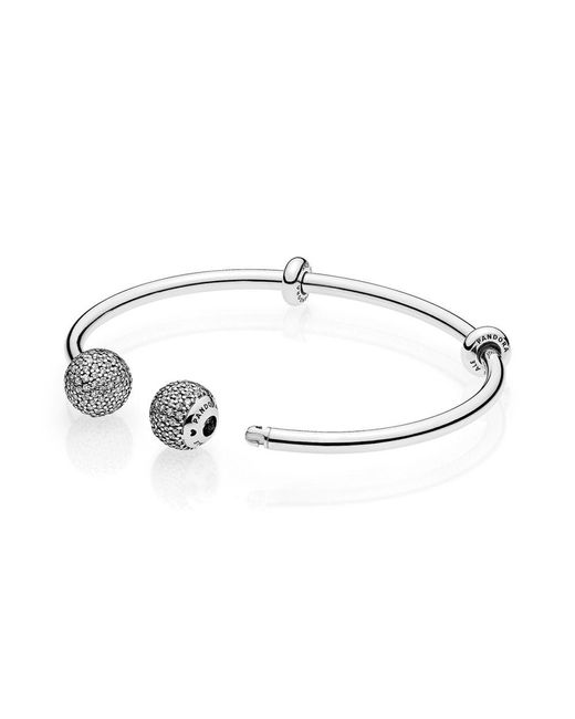 Pandora - Metallic Moments Silver Open Bangle, Pavé Caps - Lyst