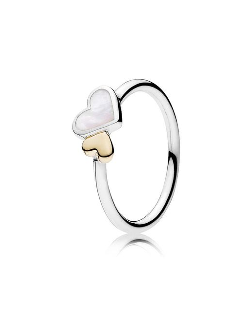 Pandora | Metallic Luminous Hearts Ring | Lyst