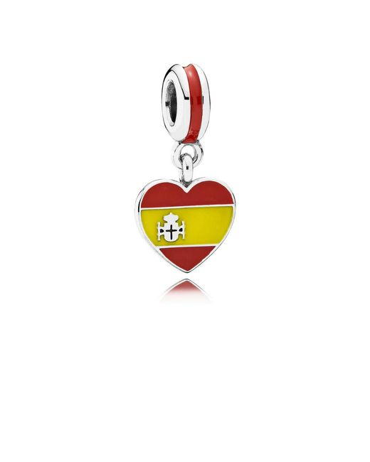 Pandora - Multicolor Spain Heart Flag Pendant Charm - Lyst