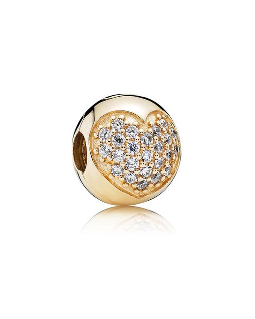 Pandora | Metallic Gold Pavé Heart Clip | Lyst