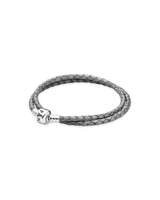 Pandora | Metallic Moments Double Woven Leather Bracelet - Grey | Lyst