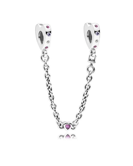 Pandora - Metallic Bright Hearts Safety Chain - Lyst
