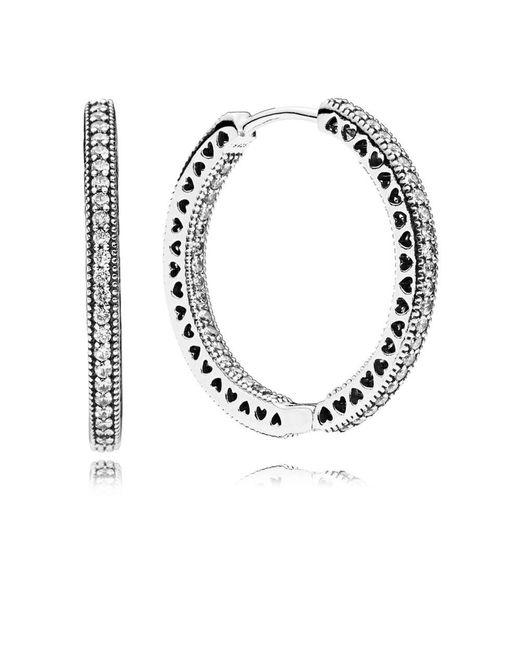 Pandora - Metallic Hearts Of Hoop Earrings - Lyst