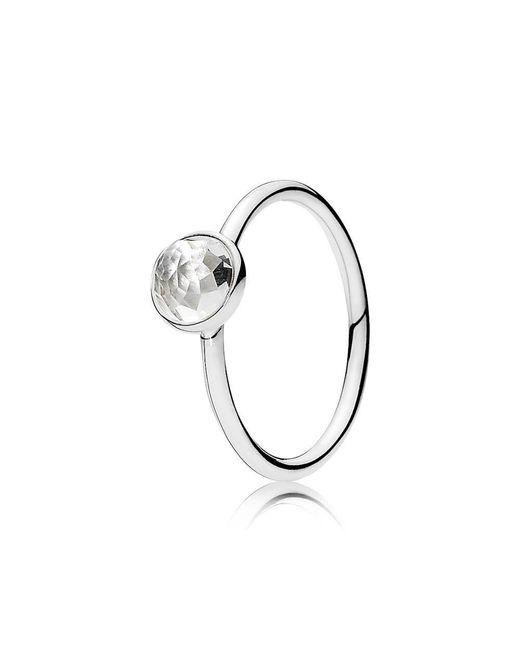 Pandora   Metallic April Droplet Birthstone Ring   Lyst