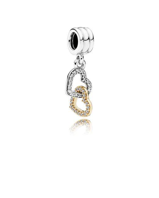 Pandora - Metallic Interlocked Hearts Pendant Charm - Lyst