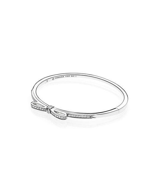 Pandora - Metallic Sparkling Bow Bangle - Lyst