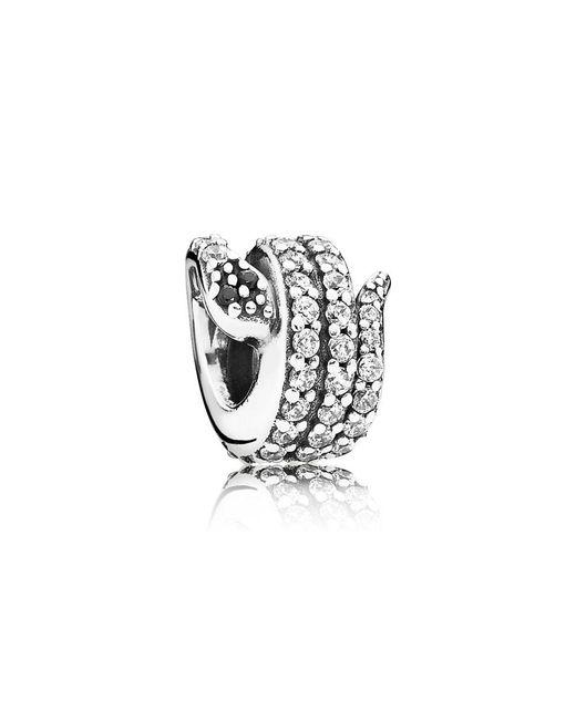 Pandora - White Sparkling Snake Charm - Lyst