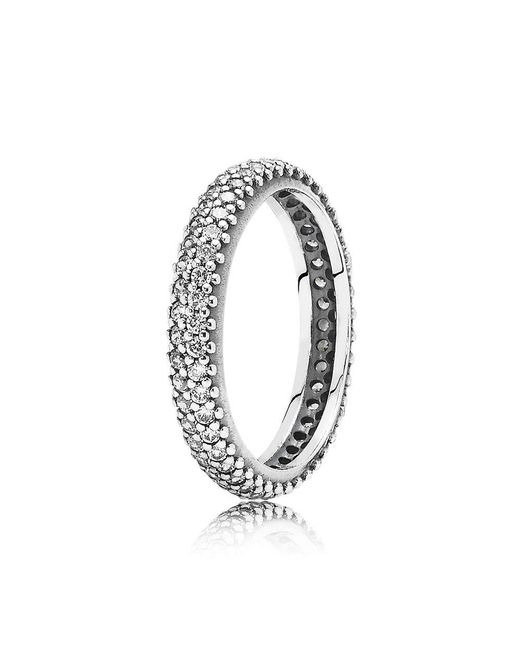 Pandora - Metallic Sparkling Curve Ring - Lyst
