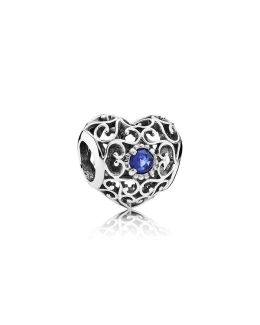 Pandora | Blue September Signature Heart Birthstone Charm | Lyst