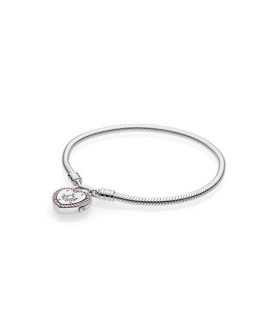 Pandora - Metallic Moments Silver Lock Your Promise Heart Clasp Bracelet - Lyst
