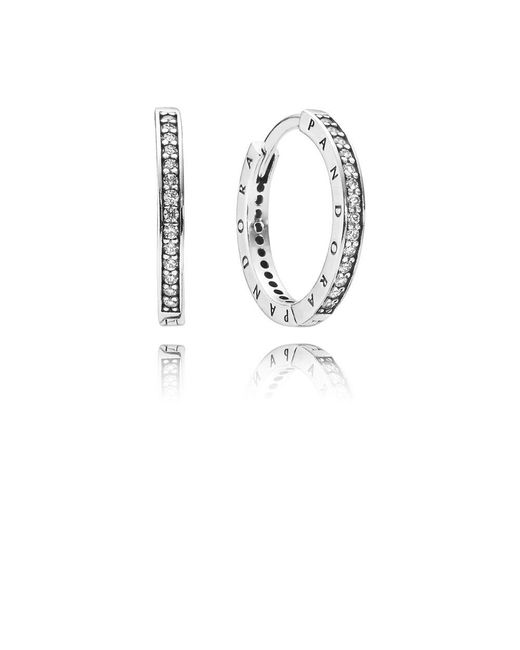 Pandora - Metallic Signature Hoop Earrings - Lyst