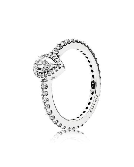Pandora - Metallic Radiant Teardrop Ring - Lyst