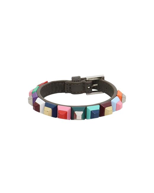 Fendi - Multicolor Geometric Stud Thin Cuff Coal/multi - Lyst