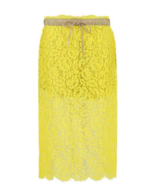 sacai floral lace pencil skirt yellow in yellow lyst